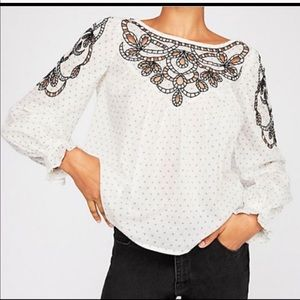 Free People Everything I Know Cotton Peasant Top M
